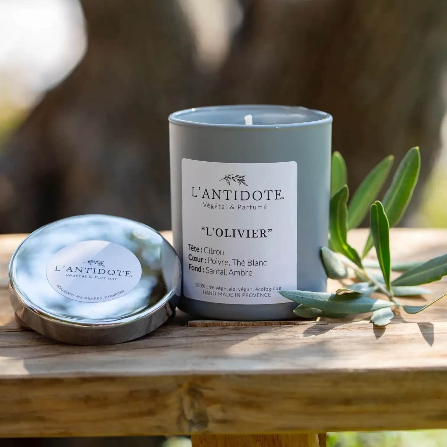 bougie parfumée citron l'olivier de l'antidote
